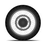 Black motorbike wheel Stock Photography