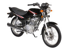 Black motorcycle. Over white background Stock Photos