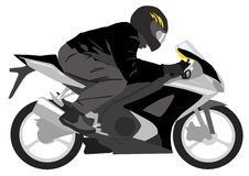 Black motorcycle with biker Stock Photography