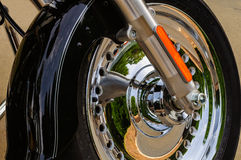 Black Motorcycle Front Fender and Chrome Wheel Stock Photos