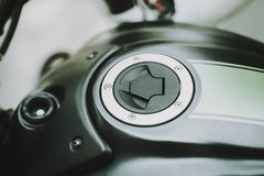Black Motorcycle Gas Tank Concept. Front View. stock images