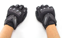 Black Motorcycle gloves isolated Royalty Free Stock Photography