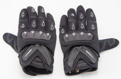 Black Motorcycle gloves isolated Royalty Free Stock Image