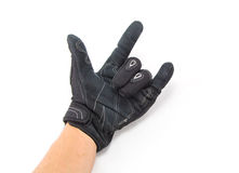 Black Motorcycle gloves rock you Stock Photo