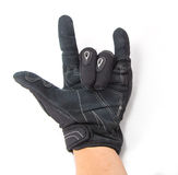 Black Motorcycle gloves rock you Stock Images