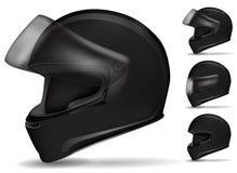 Black motorcycle helmet. Set of black motorcycle helmet isolated on white Royalty Free Stock Images