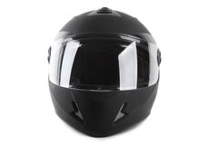 Black motorcycle helmet isolated. On white stock image