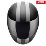 Black motorcycle helmet with strip. Black motorcycle helmet with white strip. Sport vector Illustration isolated on white background Royalty Free Stock Photo