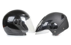 Black motorcycle helmet Stock Images