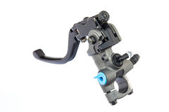 A black motorcycle lever  on white Royalty Free Stock Images