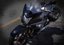 Black Motorcycle Parked Royalty Free Stock Photos