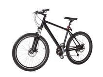 Black mountain bike. Studio shot of black mountain bike isolated on white Royalty Free Stock Photo
