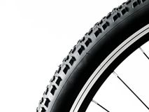 Black mountain bike wheel detail Royalty Free Stock Images