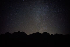 Black mountain with full stars. And milky way on the sky Stock Photos