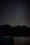 Black mountain with full stars and milky way. On the sky,roof background Royalty Free Stock Photo