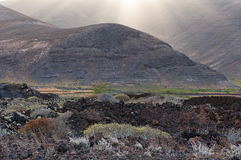 Black mountain in Lanzarote Royalty Free Stock Image