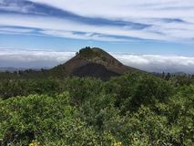Black Mountain on the top of the Island of Gran Canaria. View of the summit of the Island of Gran Canaria with colors and spring flowers, Spain royalty free stock images