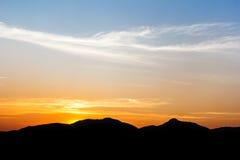 Black mountain on twilight Stock Image