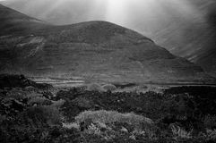 Black mountain in a volcanic place: Lanzarote Royalty Free Stock Photography
