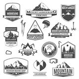 Black Mountaineering Labels Royalty Free Stock Images