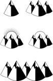 Black mountains icon. Set of black mountains icon Royalty Free Stock Photos