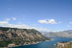 Black Mountains and Sea Bay. The picturesque Kotor bay. Black mountains, forests are what you need for relaxation and inspiration royalty free stock photos