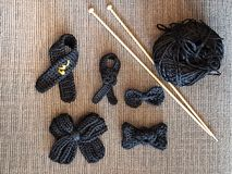 Black mourning knitiing. Knitting mourning ribbon craft Stock Photos