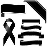 Black mourning ribbon and banners. Collection of black mourning ribbon and banners for sorrowful times Royalty Free Stock Image