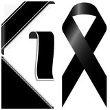 Black mourning ribbon and banners Stock Images