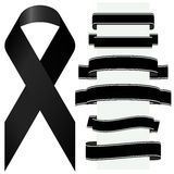Black mourning ribbon and banners Royalty Free Stock Images