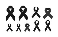 Black mourning ribbon. Death, eternal memory, funeral icon or symbol. Vector illustration. Isolated on white background Stock Photography