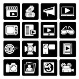 Black Movie and cinema icons. Vector icon set Royalty Free Stock Image