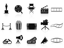 Black movies icons set. Isolated black movies icons set from white background Royalty Free Stock Photos