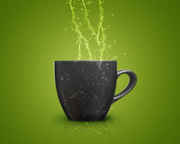 Black mug. With water splash on green background Royalty Free Stock Photography