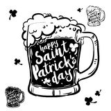 Black Mug with beer and inscription on white background. Calligraphy Happy St. Patrick`s day, design element, banner. Black Mug with beer, inscription on white Stock Illustration