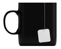 Black mug, blank label, isolated on white, 3d Stock Photography