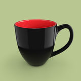 Black Mug Empty Blank for Coffee or Tea. 3d Rendering. Black Mug Empty Blank for Coffee or Tea on a green background. 3d Rendering Royalty Free Stock Photo