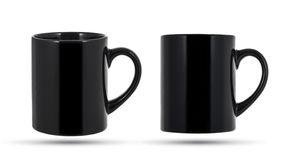 Black mug isolated. Black mug or cup isolated on white, with clipping path Royalty Free Stock Photos