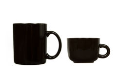 Black Mug and Teacup with White Background Royalty Free Stock Images