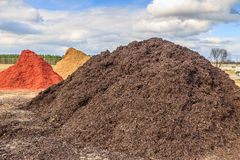 Black Mulch or Wood Chip Mound. Mound of black mulch or wood chips use for landscaping top ground material and accents royalty free stock images