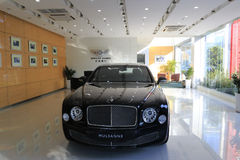 Black mulsanne in bentley motors speciality shop Stock Photo