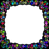 Black and multicolored tropical framework Stock Image