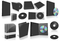 Black multimedia disks and boxes on white Stock Photos