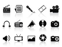 Black multimedia icons set Stock Images