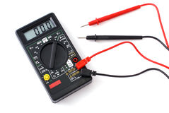 Black multimeter with two probes Stock Photography