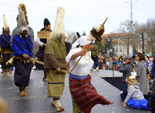 Black mummers carnival performance Stock Image