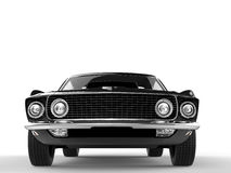 Black muscle car - front closeup shot Royalty Free Stock Photography