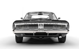 Black muscle car - front grille view. Isolated on white background Stock Photos