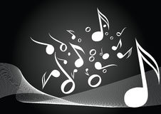 Black music. Music notes with curves in black background Royalty Free Stock Images