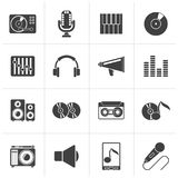 Black Music and audio equipment icons. Vector icon set stock illustration
